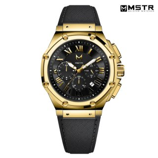 【送料無料】MSTR WATCHES AMBASSADOR【POLISHED 18K GOLD / BLACK / LEATHER BAND】【AM1001LB】