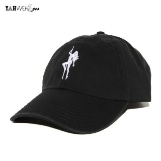 【メール便対応】YAHWEHS EYES STRAP BACK CAP【BLACK】【BIG POLE】