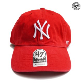 【メール便対応】47 BRAND CLEAN UP CAP NEW YORK YANKEES【RED】