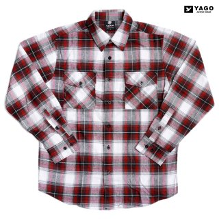 YAGO FLANNEL SHIRTS【RED×WHITE】