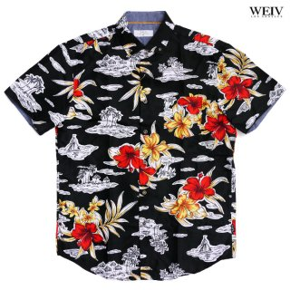 WEIV BLACKED OUT ISLAND SHIRTS【BLACK×RED】