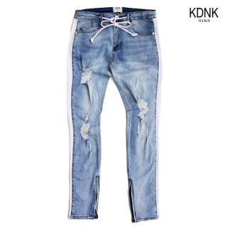 KDNK STRIPED TRACK JEANS【WASH BLUE】