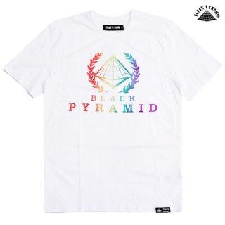 【メール便対応】BLACK PYRAMID BP CREST RAINBOW Tシャツ【WHITE】
