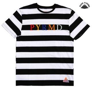 【メール便対応】BLACK PYRAMID STRIPED MULTI COLOR LOGO Tシャツ【BLACK】