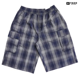 YAGO CHECK CARGO SHORTS【GRAY×NAVY】
