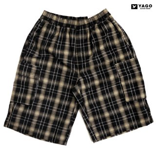 YAGO CHECK CARGO SHORTS【BLACK×BEIGE】