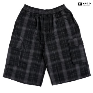 YAGO CHECK CARGO SHORTS【BLACK×CHARCOL】