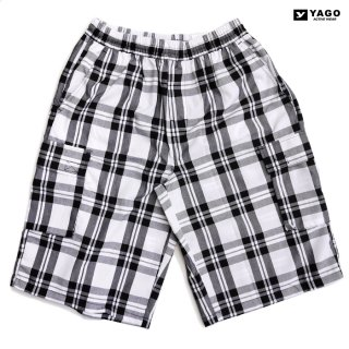 YAGO CHECK CARGO SHORTS【WHITE×BLACK】