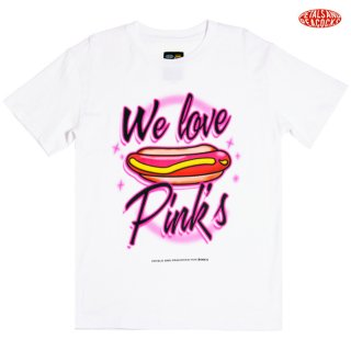 【メール便対応】PETALS AND PEACOCKS×PINK'S WE LOVE PINK'S Tシャツ【WHITE】