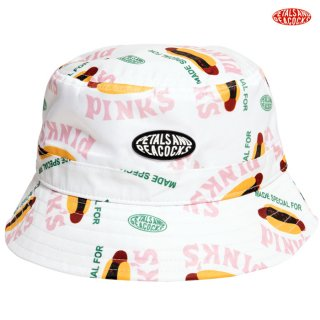 【メール便対応】PETALS AND PEACOCKS×PINK'S MADE SPECIAL BUCKET HAT【WHITE】