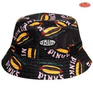 【メール便対応】PETALS AND PEACOCKS×PINK'S MADE SPECIAL BUCKET HAT【BLACK】