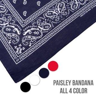 【メール便対応】PAISLEY BANDANA【BLACK・WHITE・NAVY・RED】