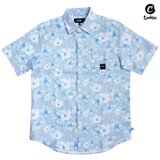 【メール便対応】COOKIES SF SEERSUCKER BUTTON SHIRTS【BLUE】