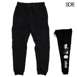DOPE EMBROIDERED FLORAL SWEATS PANTS【BLACK】