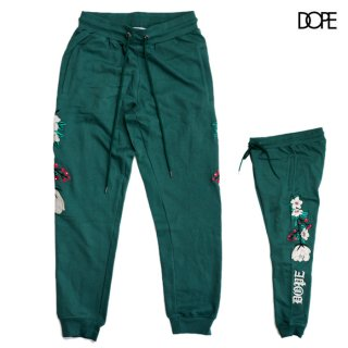 DOPE EMBROIDERED FLORAL SWEATS PANTS【GREEN】