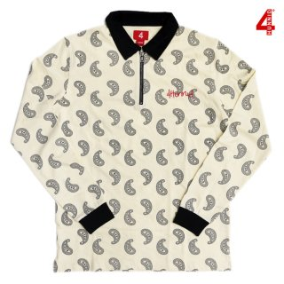 4 HUNNID PAISLEY L/S POLO SHIRTS【CREAM】
