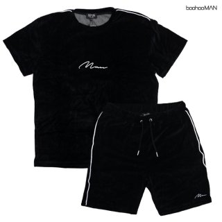 BOOHOO MAN VELOUR T-SHIRTS×SHORTS SETUP【BLACK】