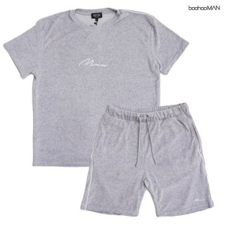 BOOHOO MAN VELOUR T-SHIRTS×SHORTS SETUP【GRAY】