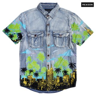 【メール便対応】REASON CLOTHING WAVY DENIM SHIRT【DENIM BLUE】