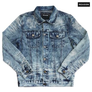 【送料無料】REASON CLOTHING VINTAGE BLEACH DENIM JACKET【WASH BLUE】