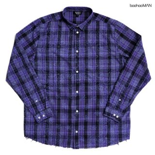 BOOHOO MAN PAISLEY FLANNEL SHIRTS【BLUE】