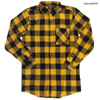 BOOHOO MAN LONG LENGTH FLANNEL SHIRTS【YELLOW】