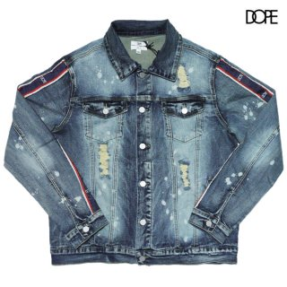 DOPE STRIPE DENIM JACKET【WASH BLUE】