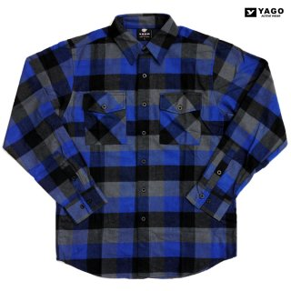 YAGO FLANNEL SHIRTS【BLUE】