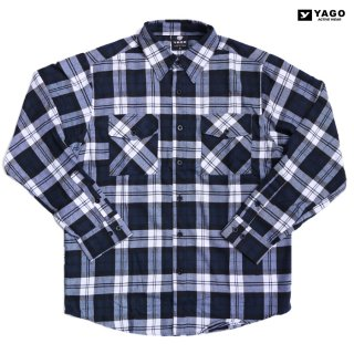 YAGO FLANNEL SHIRTS【NAVY×WHITE】