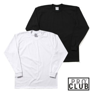 【2XL】PRO CLUB PLAIN LONG SLEEVE Tシャツ HEAVY WEIGHT 6.5oz ヘビーウェイト【BLACK/WHITE】