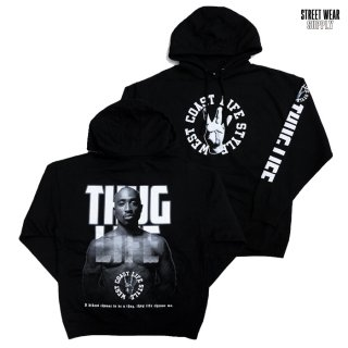 STREETWEAR SUPPLY THUG LIFE HOODED SWEAT【BLACK】