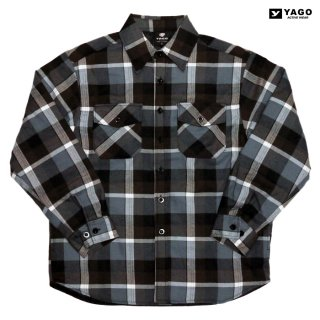 YAGO FLANNEL QUILTING JACKET【GRAY×BROWN】