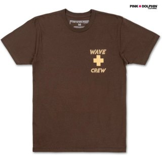 【メール便対応】PINK DOLPHIN CLOTHING WAVE CREW Tシャツ【BROWN】