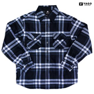 YAGO FLANNEL QUILTING JACKET【NAVY×WHITE】