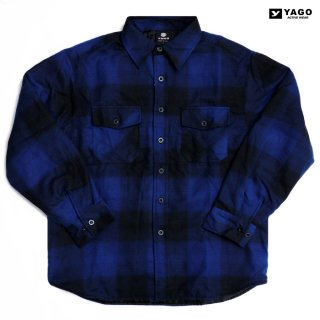 YAGO FLANNEL QUILTING JACKET【BLUE×BLACK】
