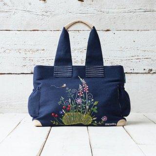 手刺繍バック 〜Flower Garden〜 (イニシャル付き)【受注生産】