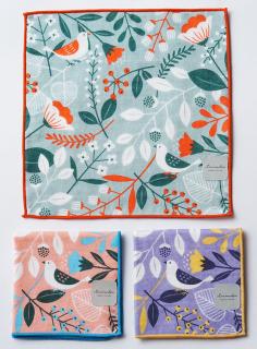 プリントミニタオル 鳥と植物