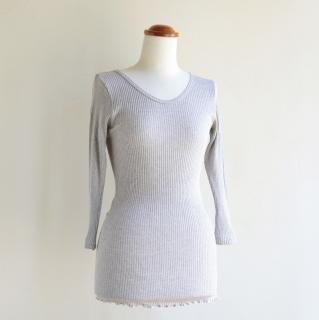 婦人 リブカラー 8分袖シャツ
