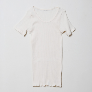 婦人 リブ 半袖シャツ