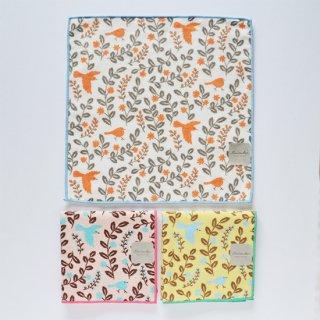 プリントミニタオル 鳥と花