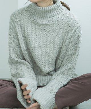 柄編みオフタートルオーバーサイズニット