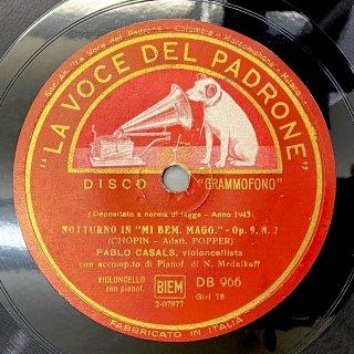 パブロ・カザルス(Vc):夜想曲第2番変ホ長調op.9-2 /前奏曲第15番変ニ長調op.28-15「雨だれ」(ショパン)