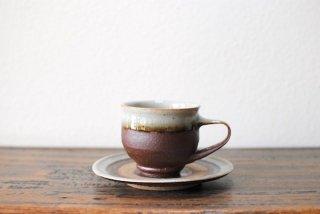 【森山窯】コーヒー碗皿 白覆輪