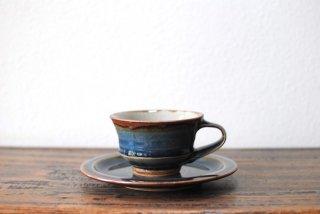 【森山窯】紅茶碗皿(反り) 瑠璃釉
