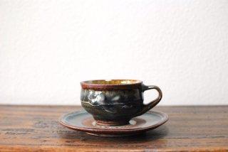 【森山窯】紅茶碗皿 いっちん 呉須釉