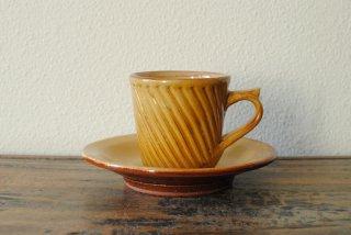 【湯町窯】カップアンドソーサー ななめしのぎ 黄釉
