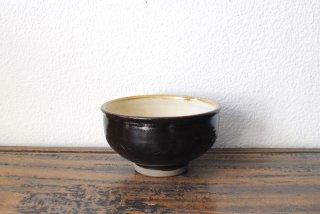 【小鹿田焼・黒木昌伸窯】3.8寸汁碗 黒 櫛描