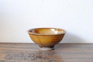 【小鹿田焼・黒木昌伸窯】4.5寸飯碗 飴 刷毛引き