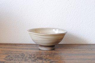 【小鹿田焼・黒木昌伸窯】4.5寸飯碗 白 刷毛引き