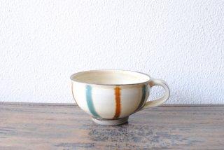 【小鹿田焼・黒木昌伸窯】スープカップ 白 飴青流し